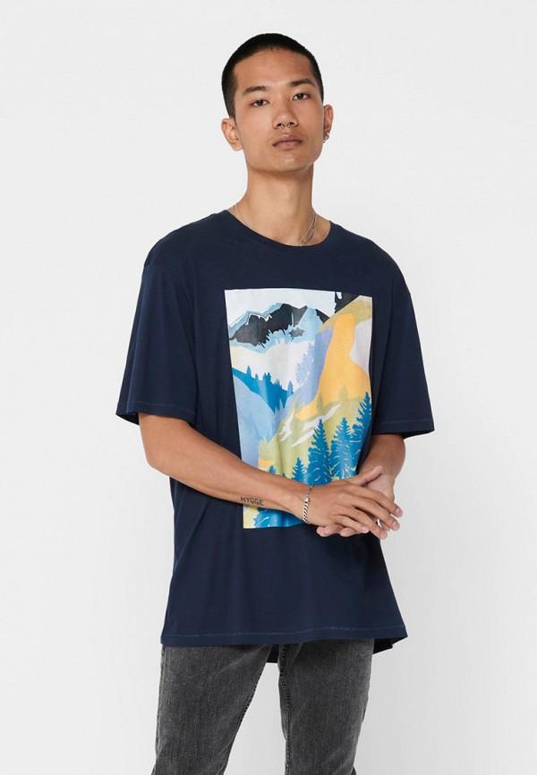 мужская футболка с коротким рукавом only & sons, синяя