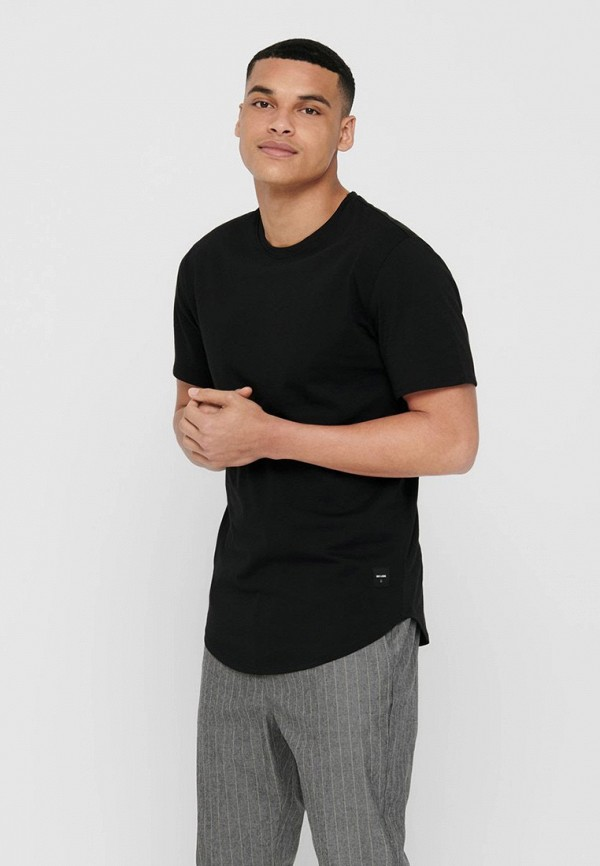 мужская футболка с коротким рукавом only & sons, черная