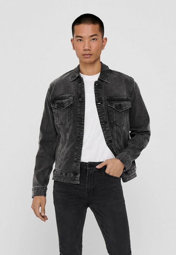 мужская джинсовые куртка only & sons, черная