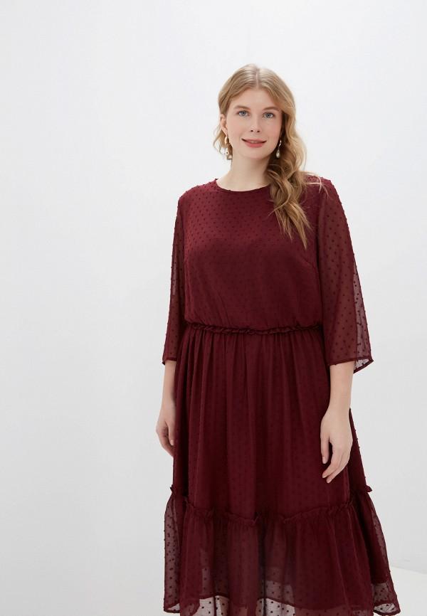 женское повседневные платье only carmakoma, бордовое