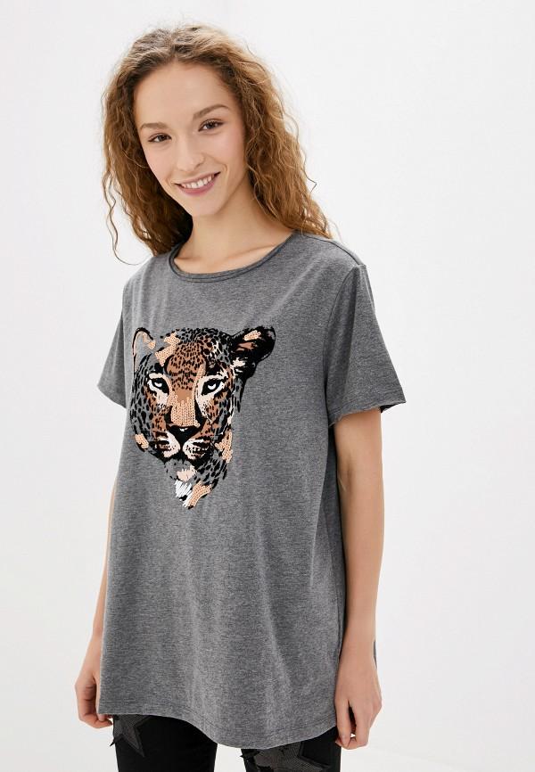 женская футболка only carmakoma, серая