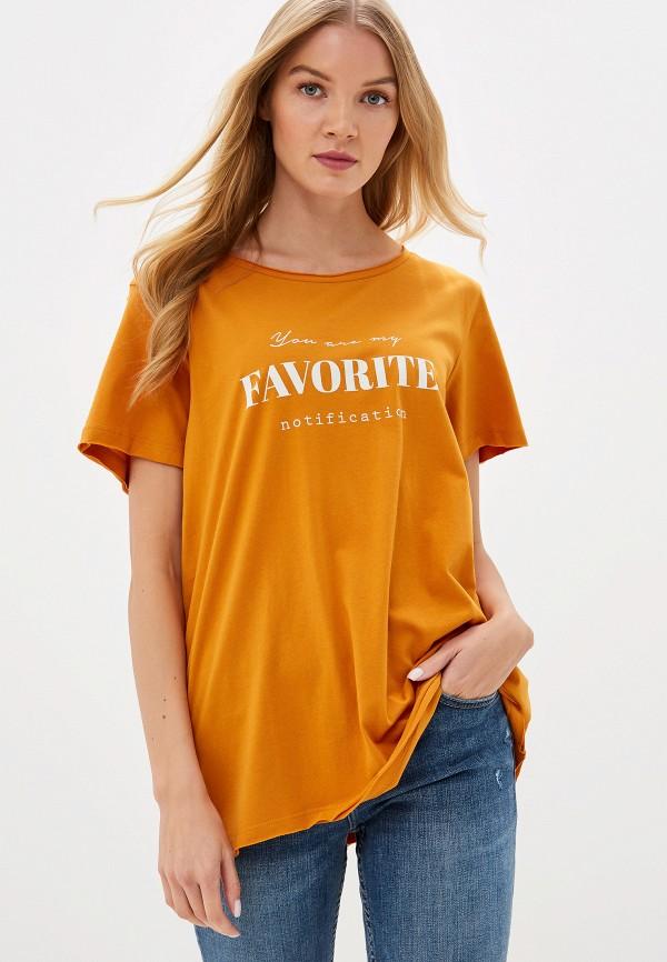 женская футболка only carmakoma, желтая