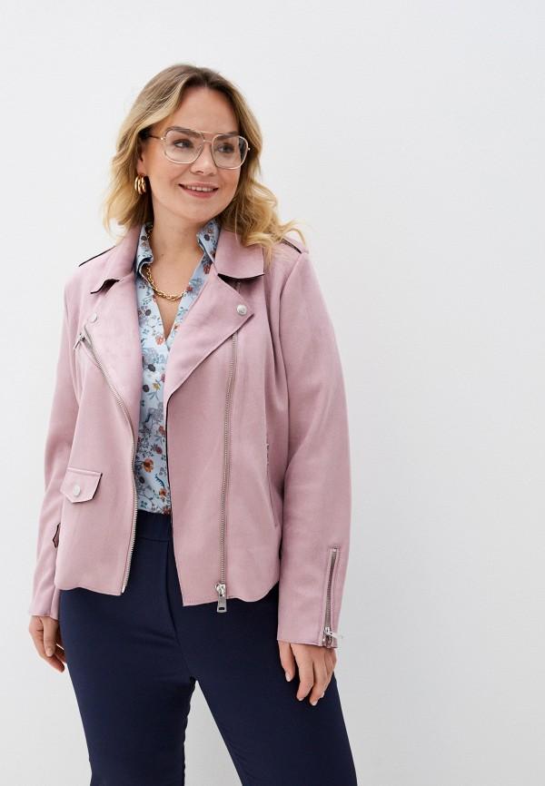 женская куртка only carmakoma, розовая