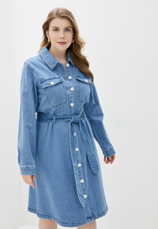 женское джинсовые платье only carmakoma, синее
