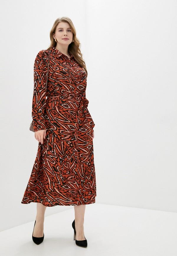 женское платье only carmakoma, коричневое