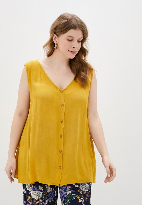 женская блузка only carmakoma, желтая