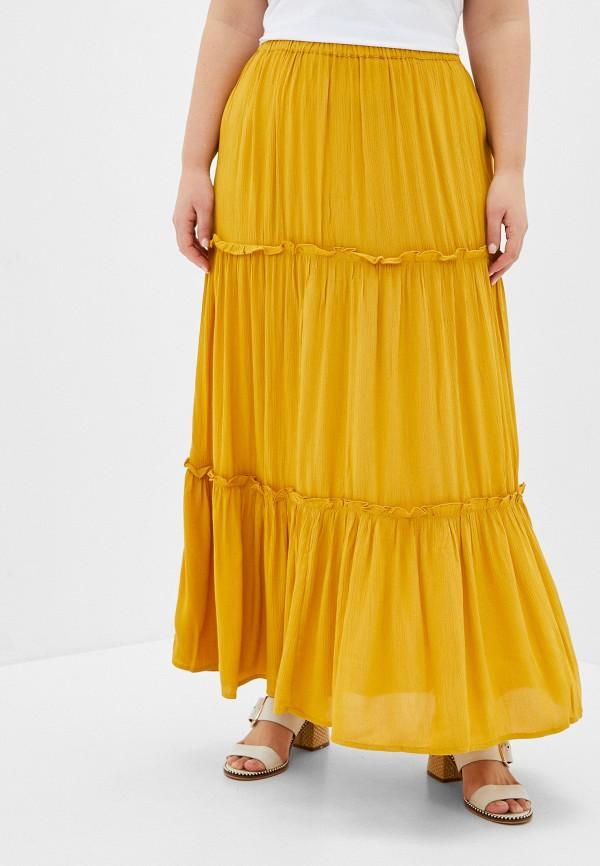 женская юбка only carmakoma, желтая