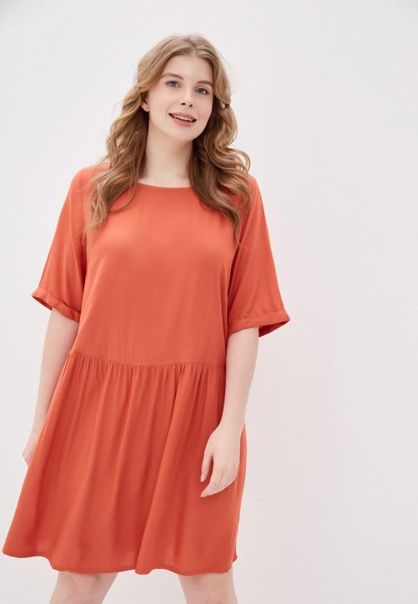 женское платье only carmakoma, оранжевое