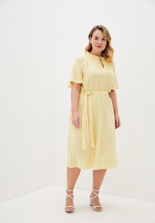 женское повседневные платье only carmakoma, желтое