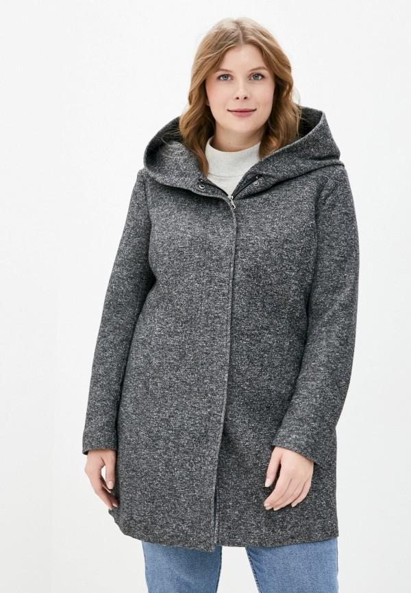 женское пальто only carmakoma, серое
