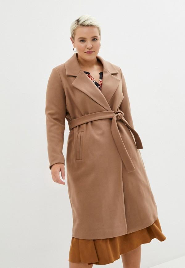 женское пальто only carmakoma, коричневое