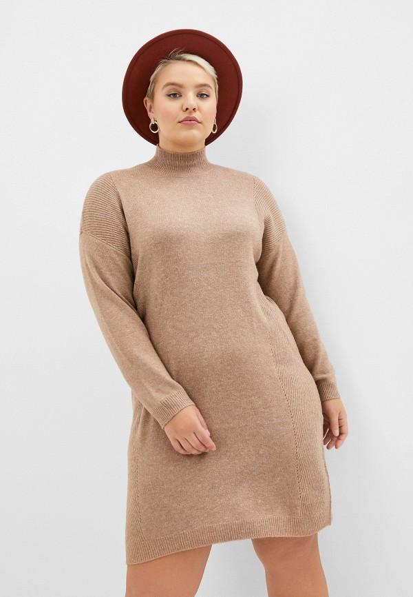 женское повседневные платье only carmakoma, бежевое