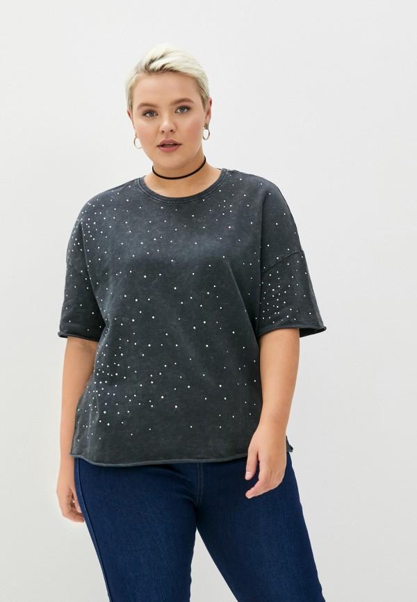 женская футболка only carmakoma, черная