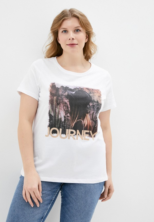 женская футболка only carmakoma, белая