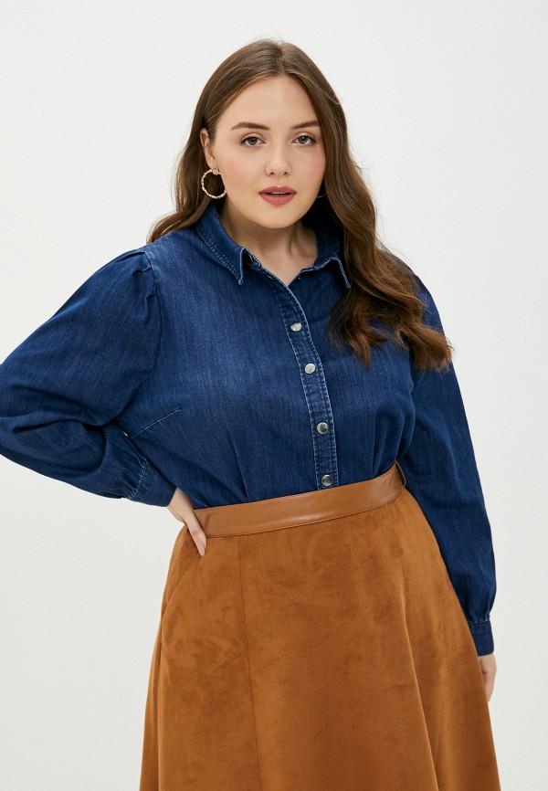 женская джинсовые рубашка only carmakoma, синяя