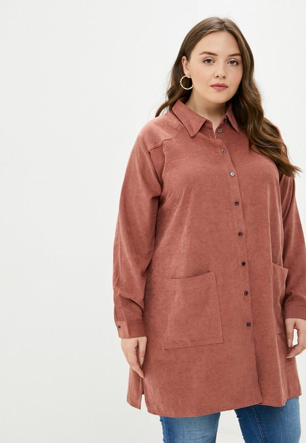 женская рубашка с длинным рукавом only carmakoma, коричневая