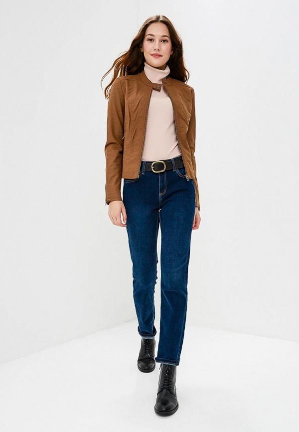 Фото 2 - Куртку кожаная Only коричневого цвета