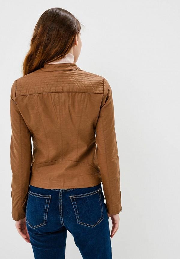 Фото 3 - Куртку кожаная Only коричневого цвета