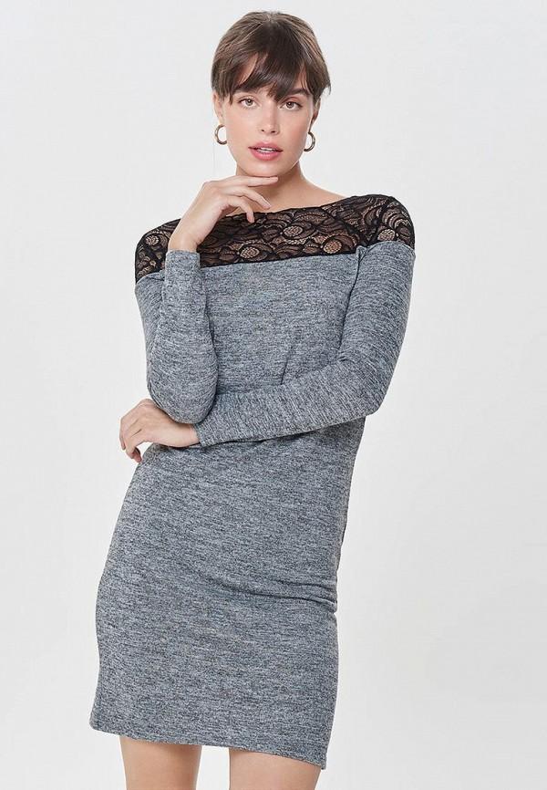 Фото 2 - женское платье Only серого цвета