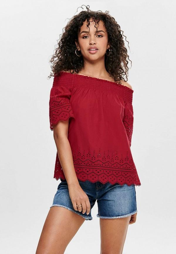 женская блузка only, бордовая