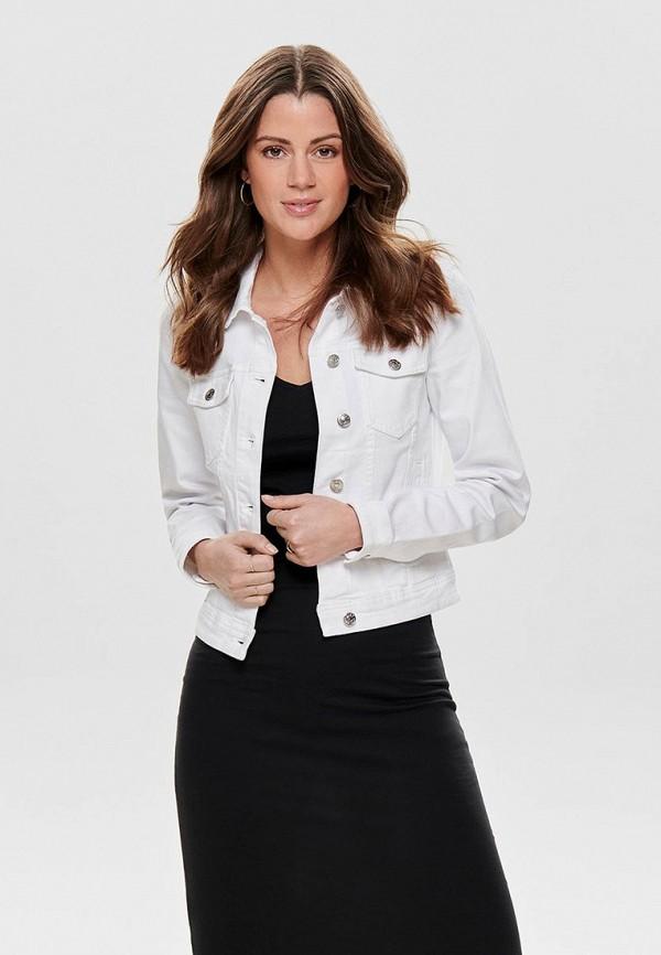 Фото 3 - Куртку джинсовая Only белого цвета