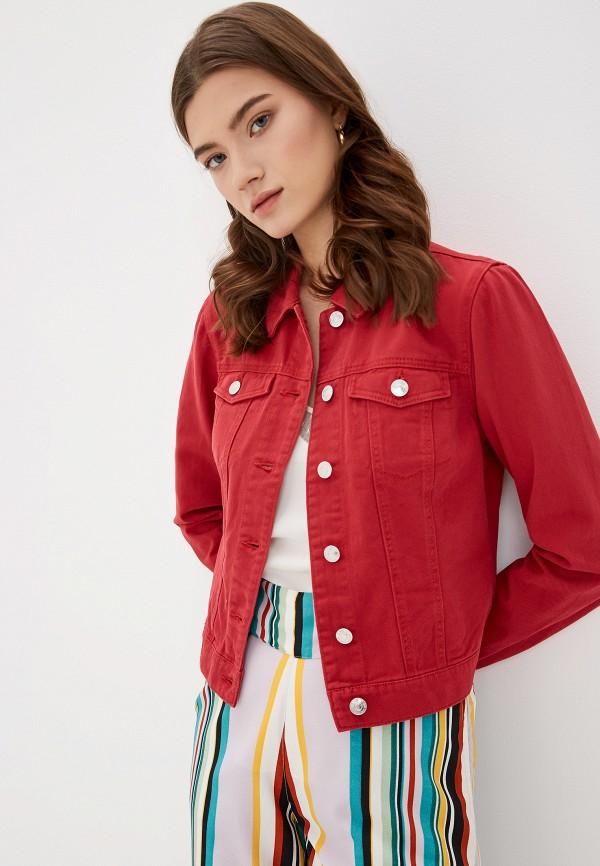 женская джинсовые куртка only, красная