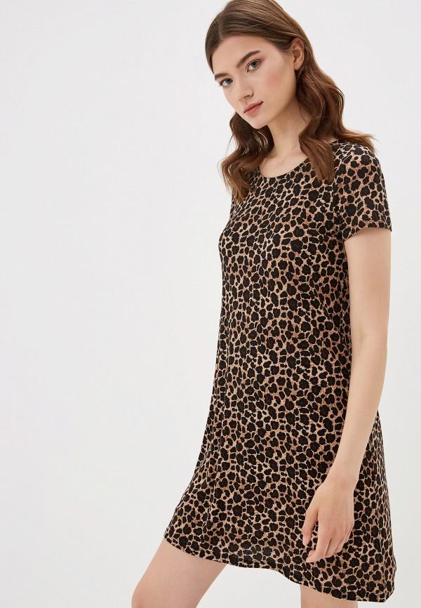 женское повседневные платье only, коричневое