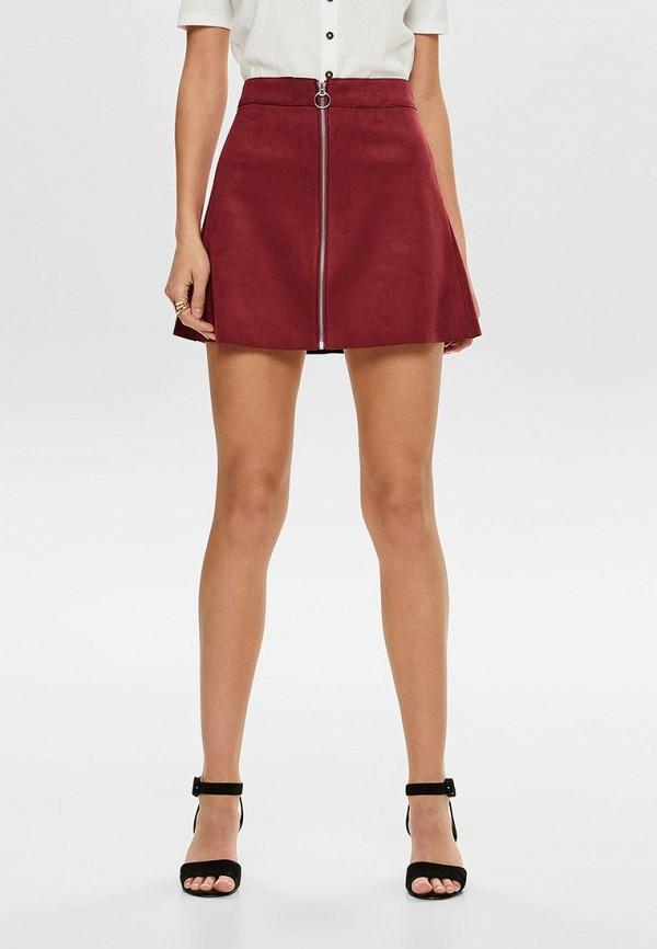 Купить женскую юбку Only бордового цвета