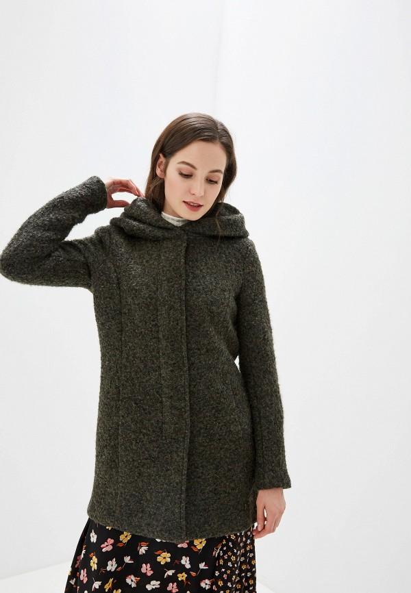 женское пальто only, зеленое