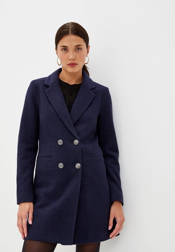 женское пальто only, синее