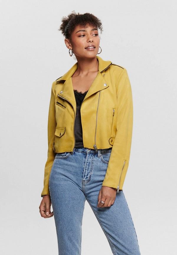 женская кожаные куртка only, желтая