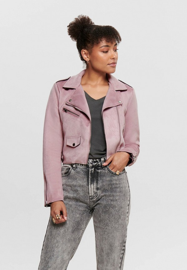 женская кожаные куртка only, розовая