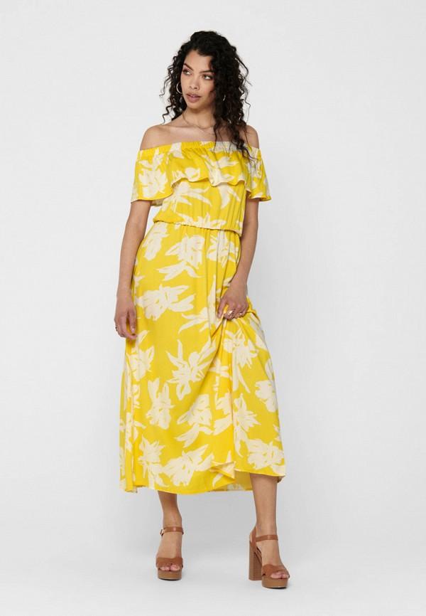 женское платье only, желтое
