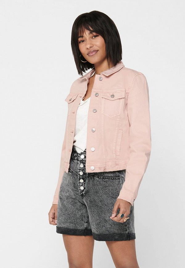 женская джинсовые куртка only, розовая