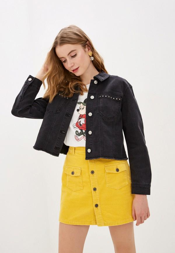 женская джинсовые куртка only, черная