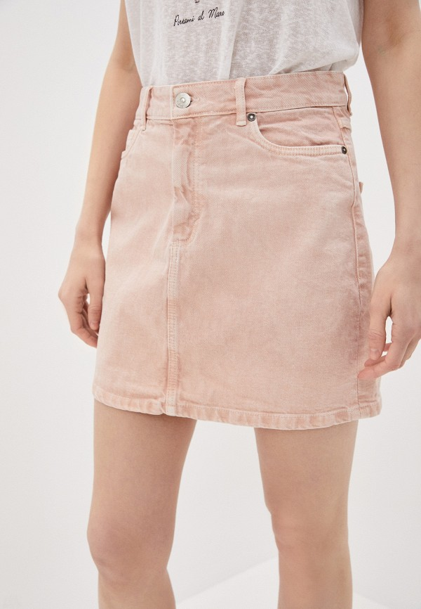 женская джинсовые юбка only, розовая