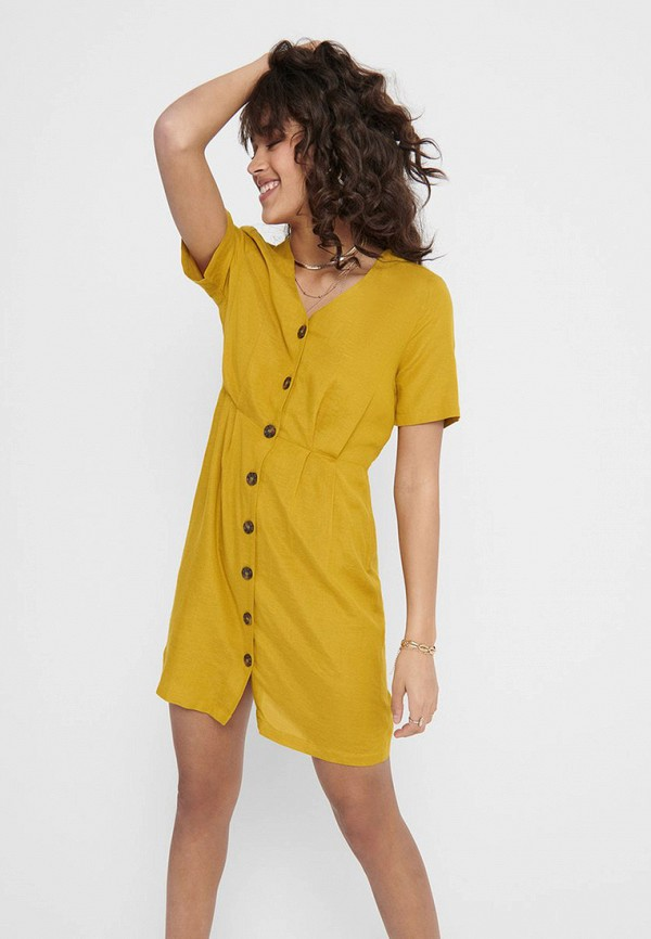 женское повседневные платье only, желтое