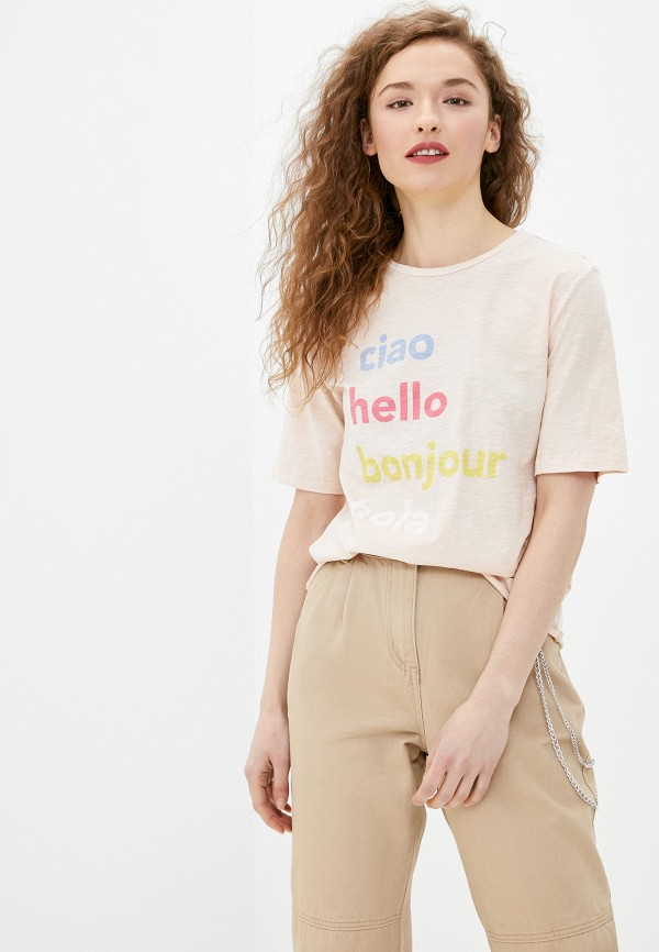 женская футболка only, розовая