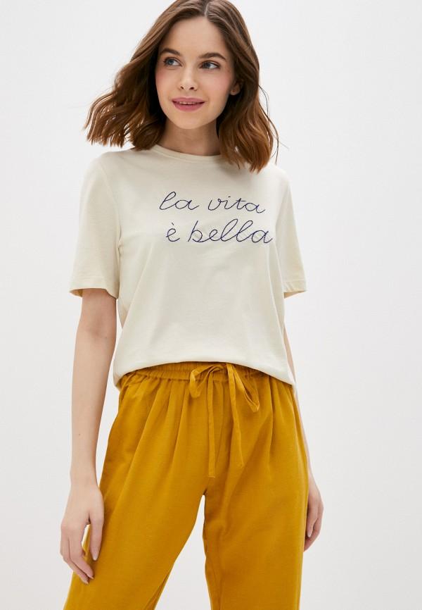 женская футболка only, бежевая