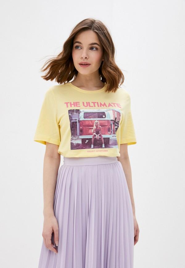 женская футболка only, желтая
