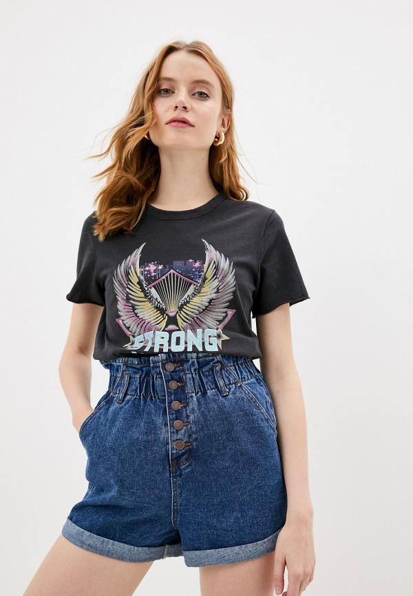 женская футболка only, черная