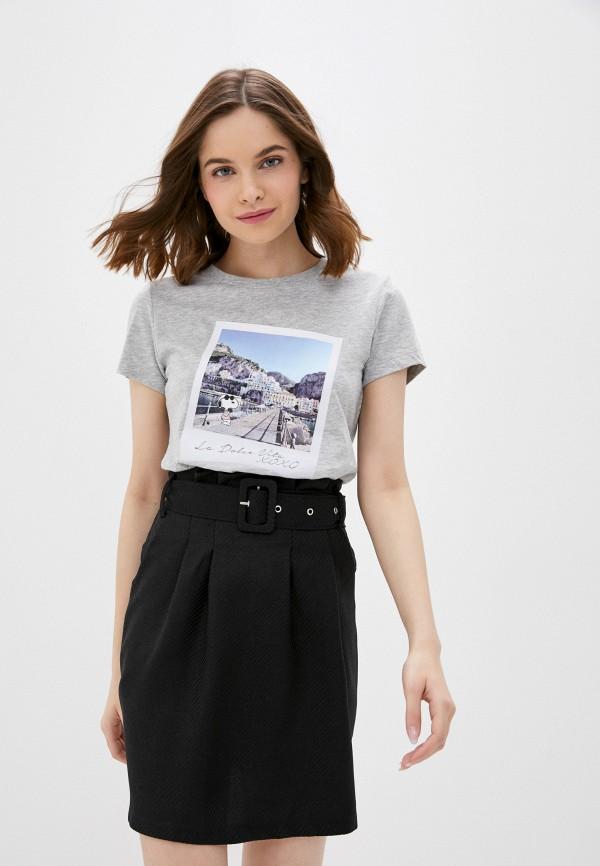 женская футболка only, серая