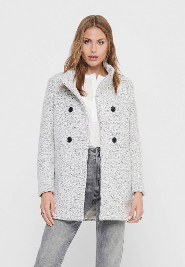 женское пальто only, серое