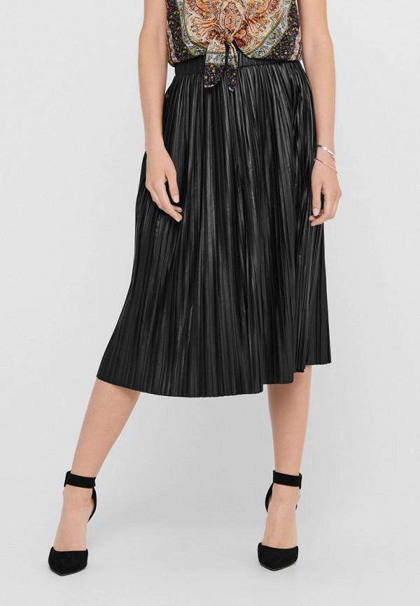 женская кожаные юбка only, черная