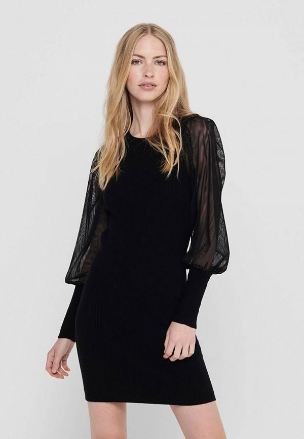 женское платье-футляр only, черное