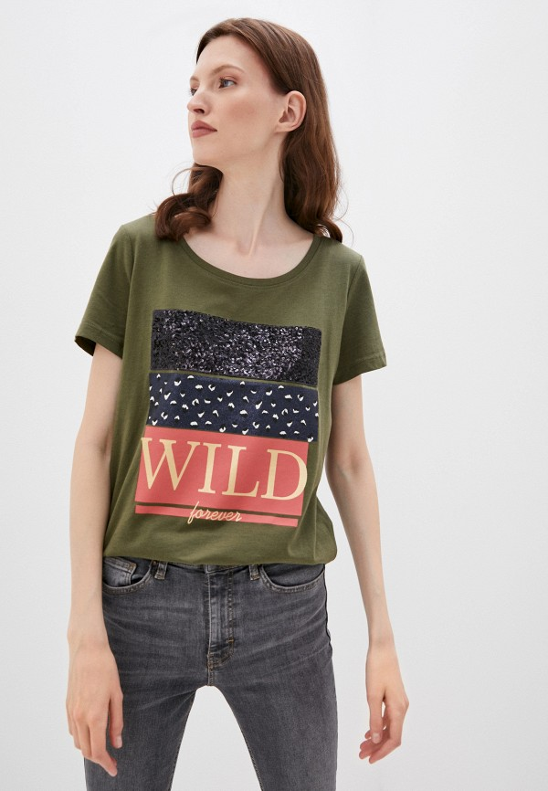 женская футболка only, хаки