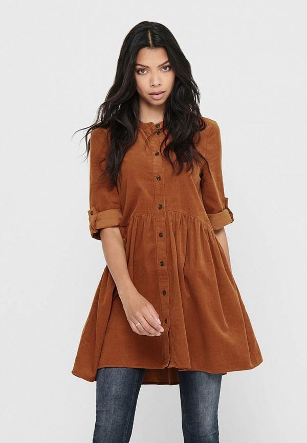 женское повседневные платье only, оранжевое