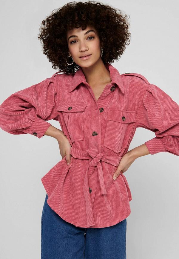 женская рубашка с длинным рукавом only, розовая
