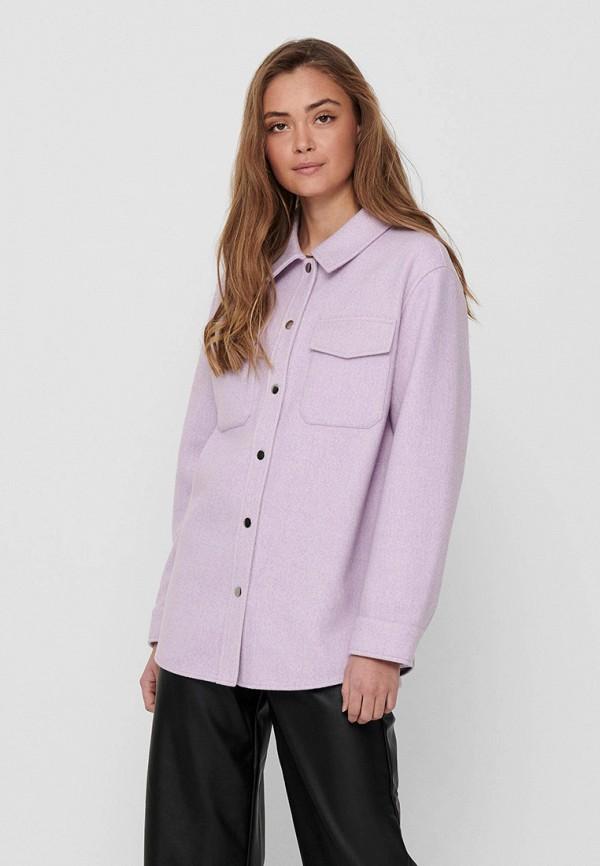 женская рубашка с длинным рукавом only, фиолетовая