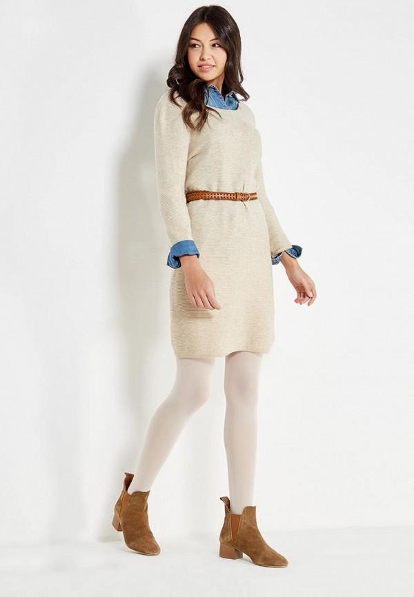 Фото 2 - женское платье Only бежевого цвета